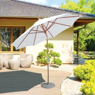 Galtech 537 9′ Deluxe Round Rotational Tilt Teak Wood Umbrella
