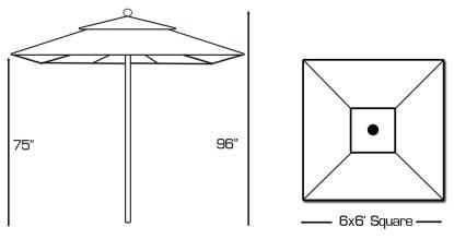 Specs for Galtech 762 6′ Square Deluxe Commercial Market Umbrella