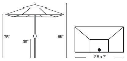Specs for Galtech 772 3.5′ x 7′ Half Wall Market Umbrella
