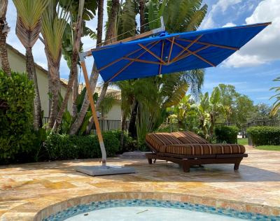 8.5' Square Levante Side Wind Cantilever Umbrella