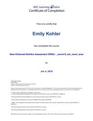 Value Enhanced Nutrition Assessment (VENA) Certification