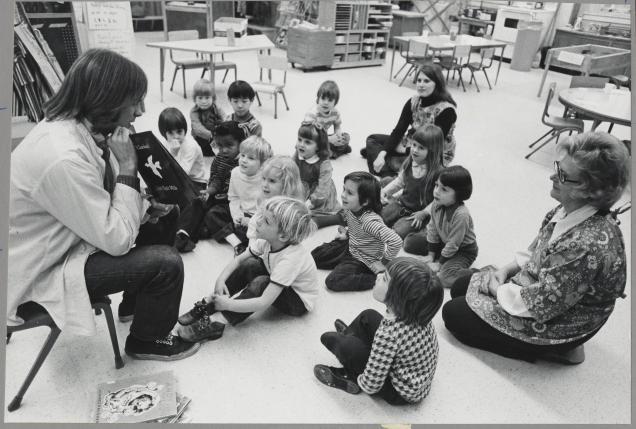 "Storytime at UMD's Center for Young Children, captured by Alfred ""Al"" Danegger."
