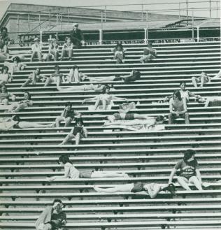 Students enjoying the Sun at Byrd Beach, c. 1979