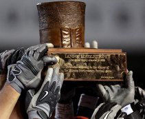 The Land of Lincoln Trophy is given to the winner of Illinois vs. Northwestern.
