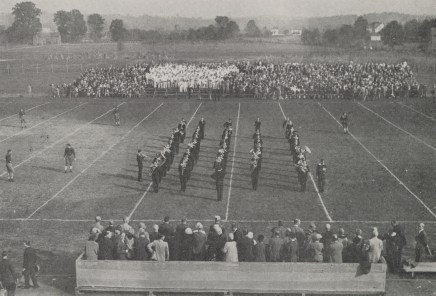 "Student Band performs the ""Victory Song"" for the first time at the Washington and Lee football game, October 29, 1927"