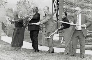Groundbreaking for Nyumburu, Otis Williams, second from left, President William E. Kirwan, center, November 1, 1994