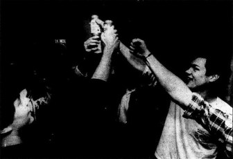 Monarchists bang their Busches in victory, 1988