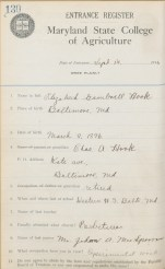 Elizabeth Hook, entrance register, Sept. 14, 1916