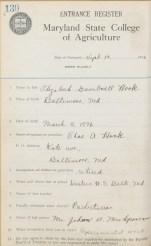 Elizabeth Hook, entrance register, Sept. 14, 1916