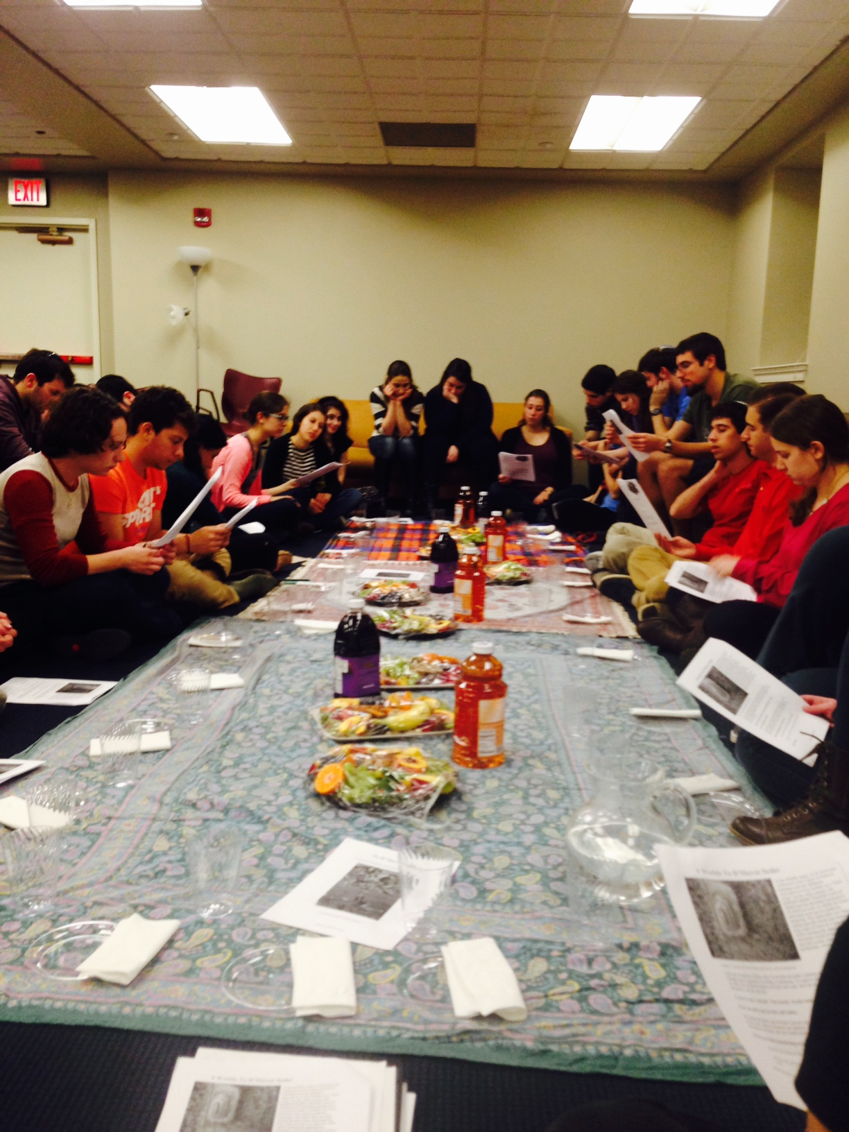 Approximately 40 students attended the Tu B'Shevat seder. (Photo courtesy of Rabbi Sarah Tasman)