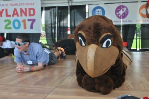 Testudo participates in the plank challenge.