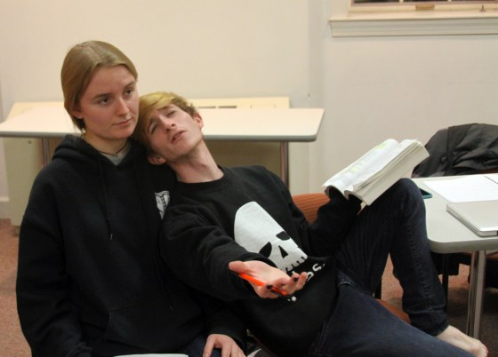 Hamlet orates a play to an unmoved Ophelia. (Jack Angelo/Bloc Photographer)