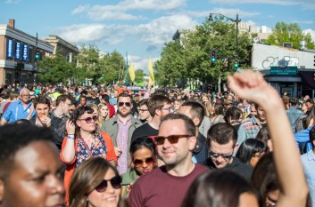 Funk Parade attendees join in on the parade down U Street. (Cassie Osvatics/Bloc Reporter)