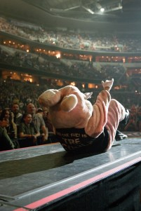 """The """"drunk bunny"""" riles up the crowd at the Verizon Center before Green Day takes the stage. (Casey Tomchek/Freelance photographer)"""