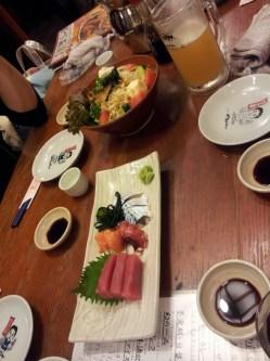 sashimi, salad