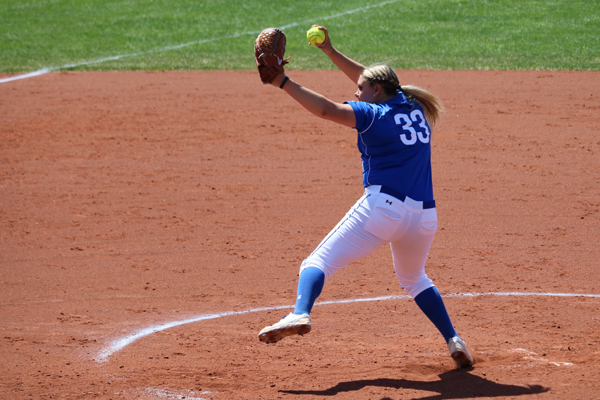Freshman Kaysee Talcik pitched six innings in relief of starter Sydney Wash (not pictured) in game one. Talcik allowed five hits and three runs in the early contest.