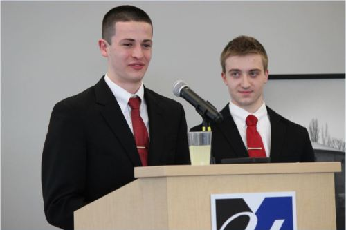 President and vice president candidates James Christopher (left) and Jesse Kruszka (right) deliver their opening statement. (Mariah Alix/Connector)