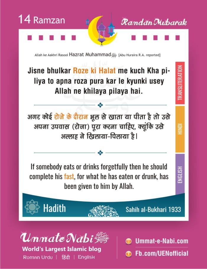14th Ramzan | Jisne bhulkar Roze ki halat me kuch kha pi liya tou apna roza pura kar le. [Hadees: Sahih al-Bukhari 1933]