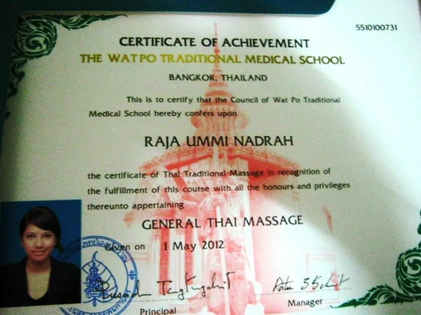 Certificate from Wat Po Massage School