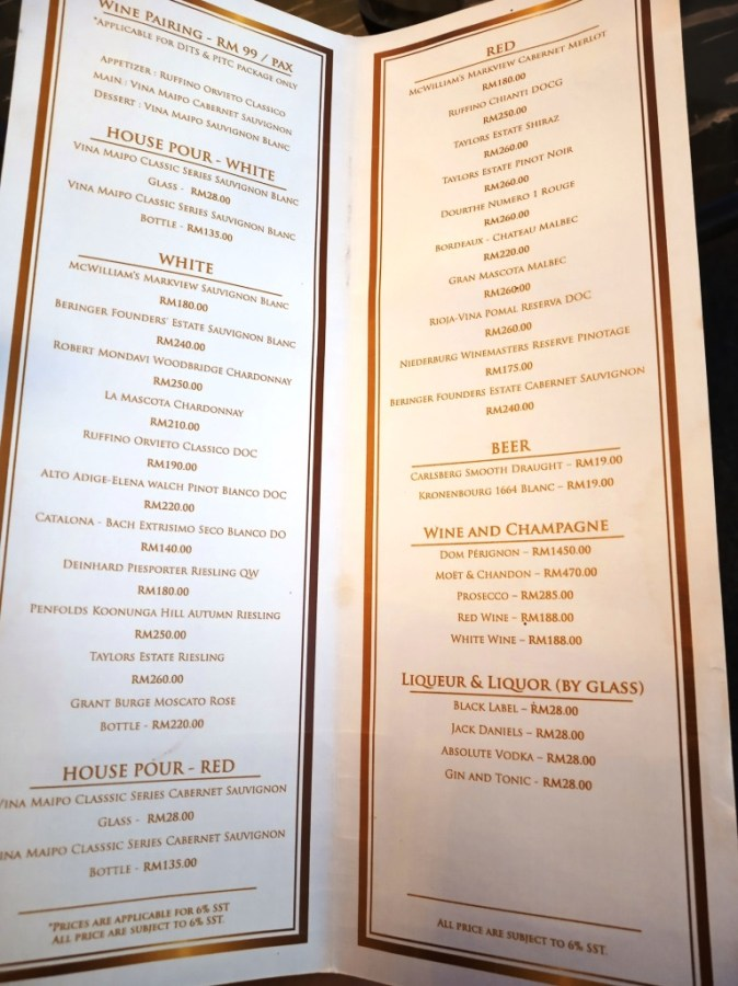 Dinner in the Sky lounge menu