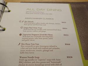 Doubletree by Hilton Kuala Lumpur room service menu