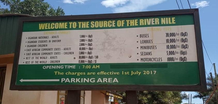 Jinja source of the nile entrance fee
