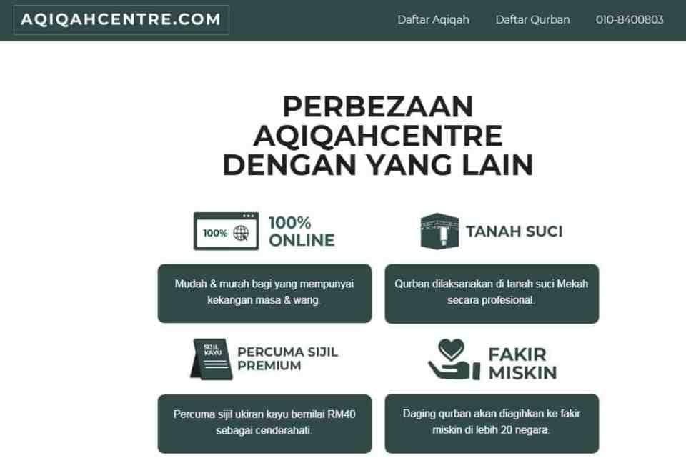 Pakej Aqiqah dan Qurban yang dibuat secara online murah dan boleh dipercayai.