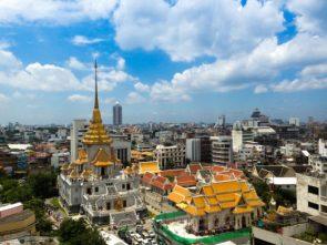 Bangkok skyline and temple