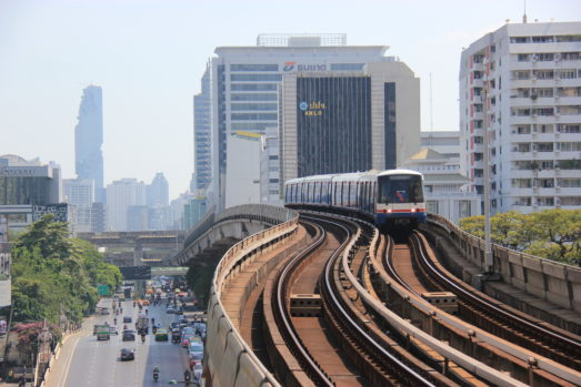 BTS Skytrain as part of video production shot
