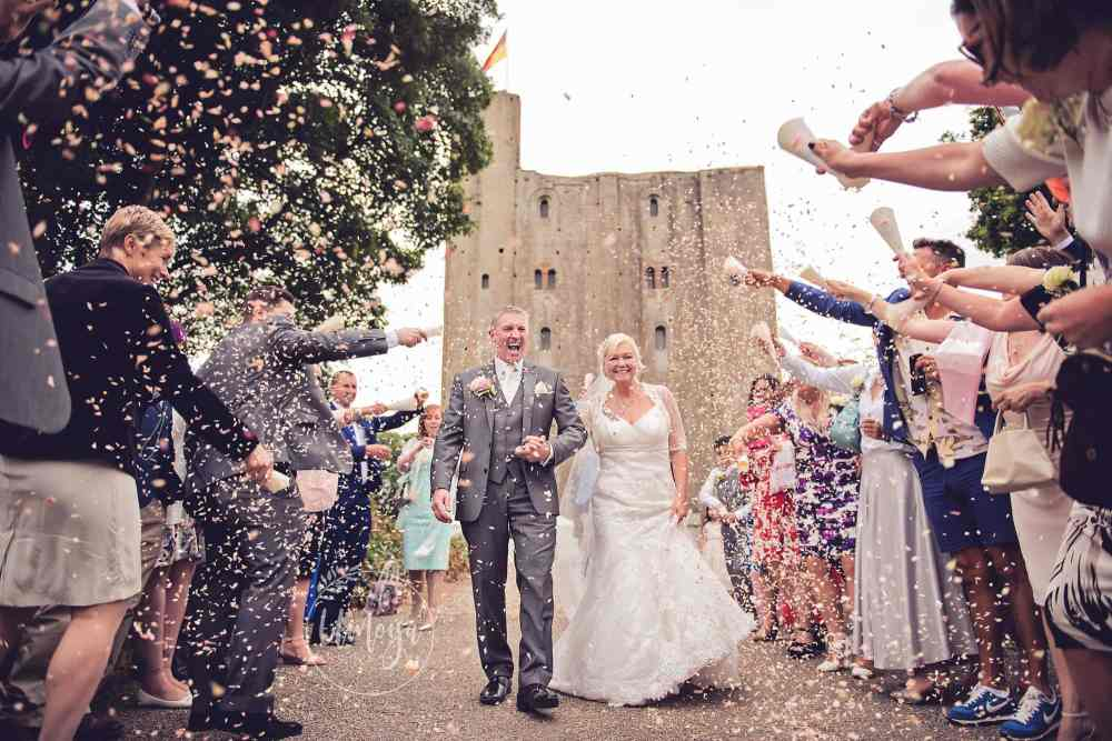 Castle Wedding Confetti Shot - Sussex wedding photographer