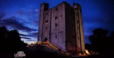 Hedingham Castle at night