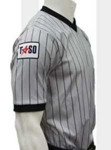 TASO Approved Men's Grey V-Neck Shirt with Black Pinstripes