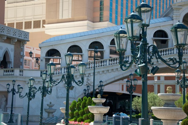 Hotel Venetian. Os detalhes da arquitetura foram copiados de Veneza