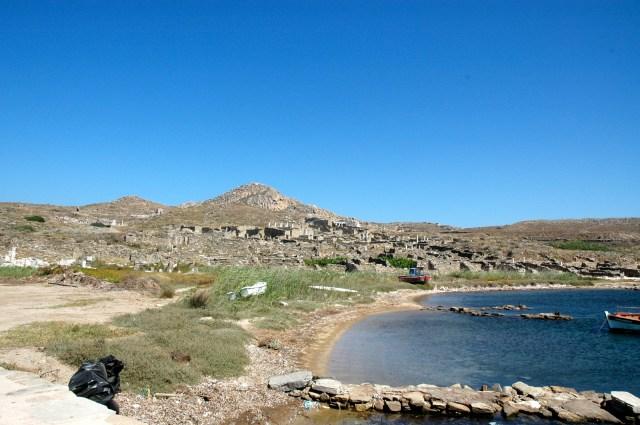 A Ilha de Delos no arquipélago das Cíclades