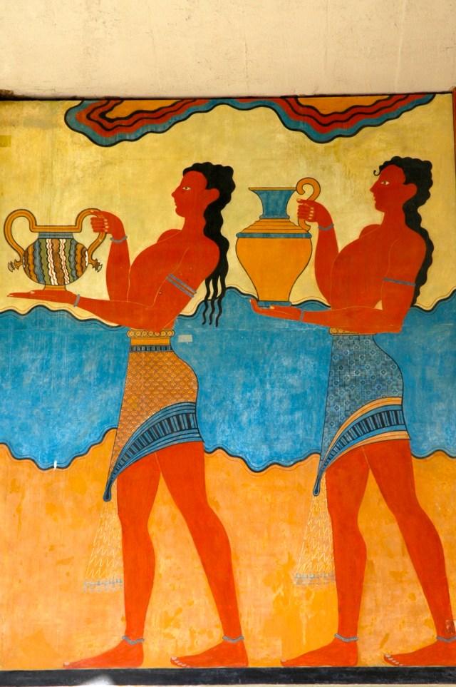 Afrescos restaurados do Palácio de Knossos