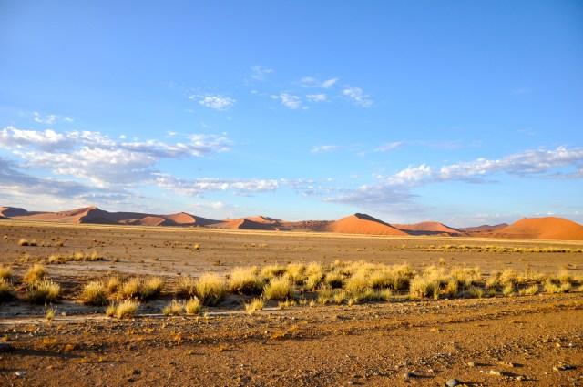 As dunas aparecem no vale formado pelas margens secas do Rio Sossus