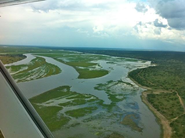 O Rio Zambeze irriga o delta.