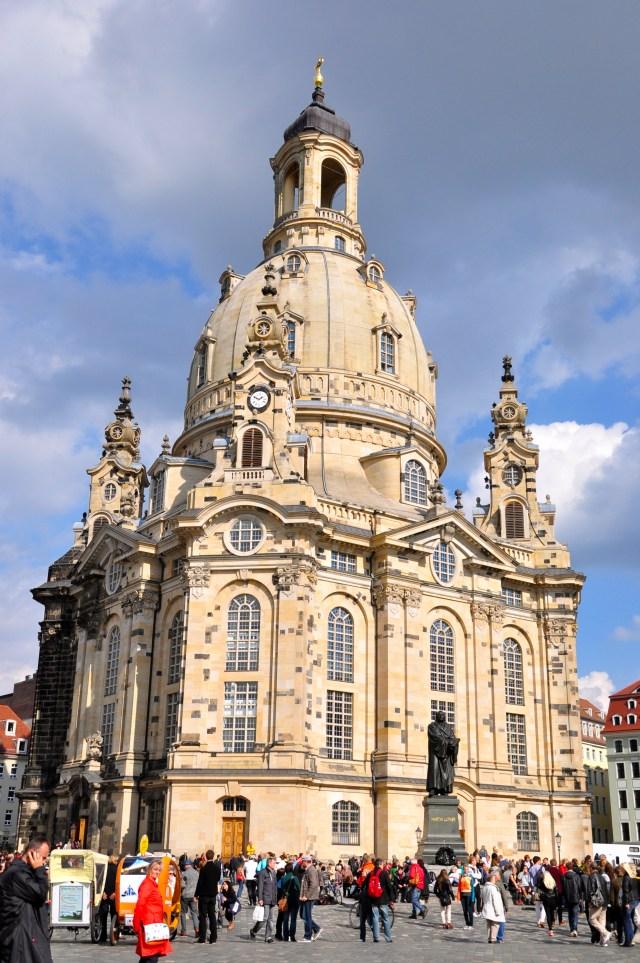 A Frauenkirche no centro de Dresden