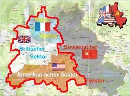 A divisão de Berlim entre URSS, EUA, França e Reino Unido