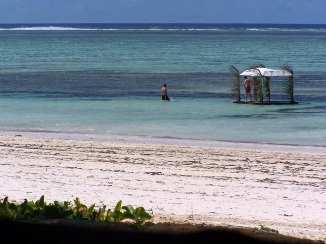 A praia de Zanzibar.