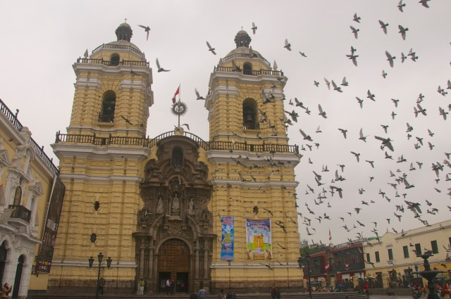 Revoada de pombos na fachada do Convento de São Francisco