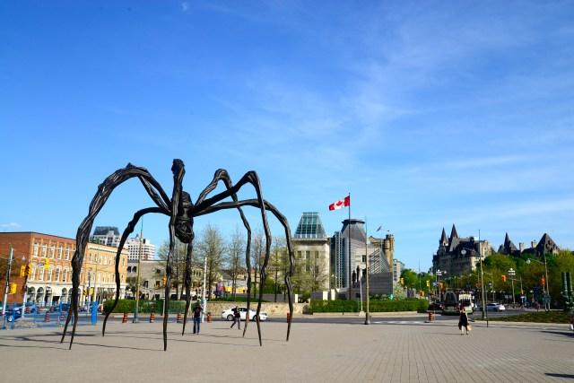 """A """"Aranha"""" gigante em frente à galeria."""