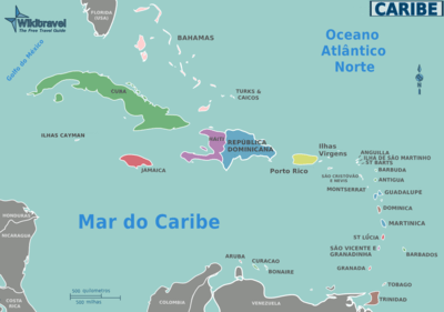 As Grandes Antilhas: Cuba, Jamaica, Hispaniola e Porto Rico.