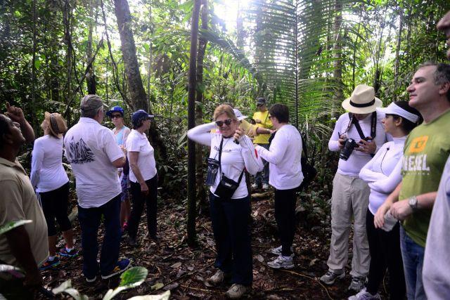 O grupo que fez a trilha pela floresta.