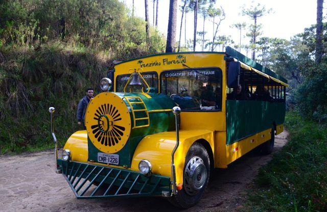 Esse é o ônibus que faz o passeio pelo Horto Florestal.