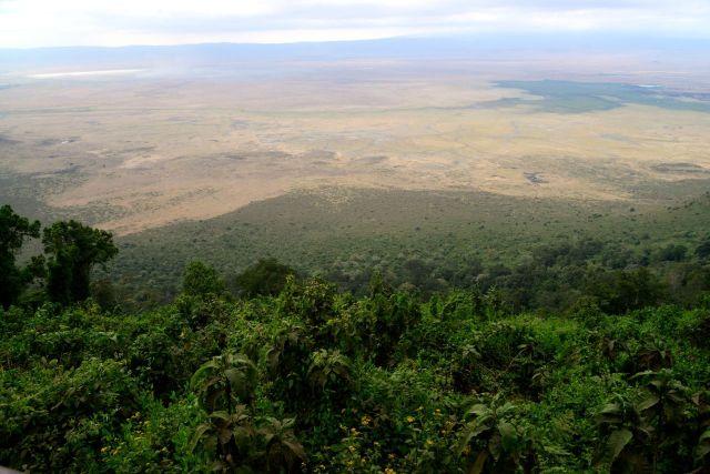 A vista do Ngorongoro é impressionante e aumenta a expectativa.