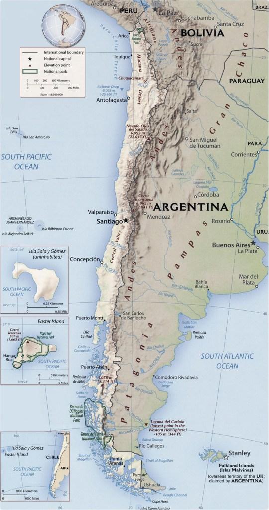 O chile espremido pela Cordilheira dos Andes.