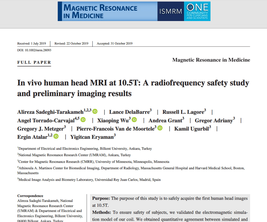 In vivo human head MRI at 10.5T: A radiofrequency safety study and preliminary imaging results