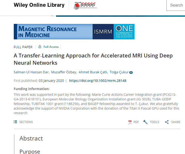 UMRAM'dan Yeni Bir Makale: TRANSFER‐LEARNING APPROACH FOR ACCELERATED MRI USING DEEP NEURAL NETWORKS