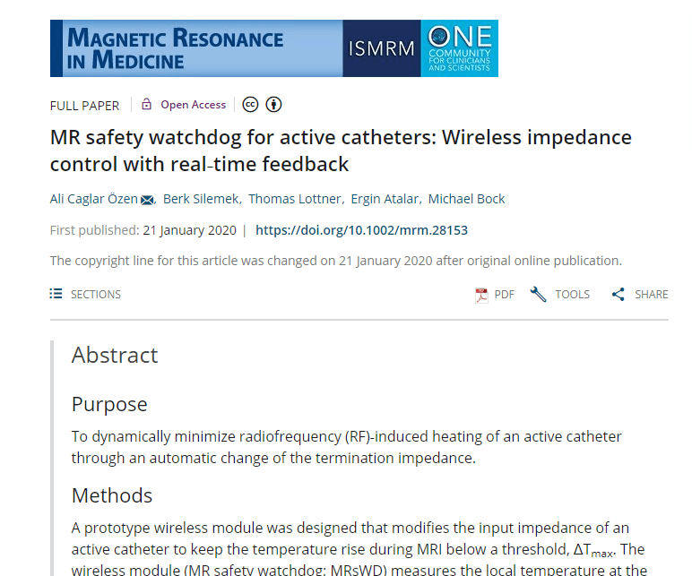 UMRAM'dan Yeni Bir Makale: MR SAFETY WATCHDOG FOR ACTIVE CATHETERS